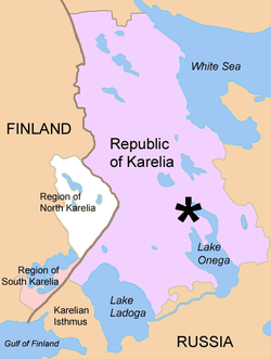 Map of Karelia where Shungite is found in the Zazhoginsky mines