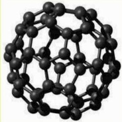 Drawing of Shungite molecule called a fullerene or a Bucky Ball.